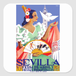 1952 Seville Spain April Fair Poster Square Sticker