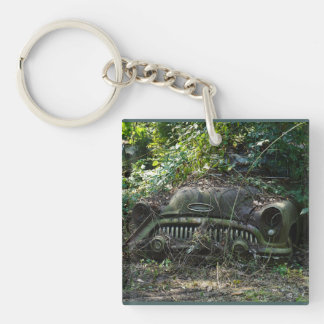 1953 Buick Covered In Overgrown Foliage Key Ring