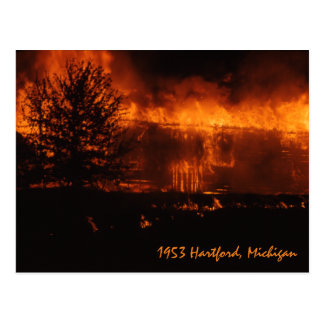 1953 Hartford Michigan House On Fire Postcard