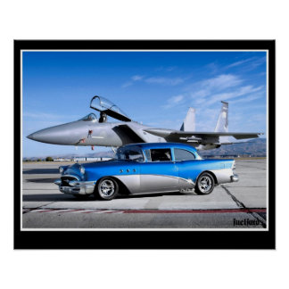 1955 Buick Special Classic Car Fighter Jet Poster