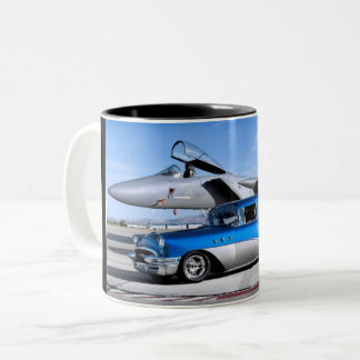 1955 Buick Special Classic Car Fighter Jet Two-Tone Coffee Mug