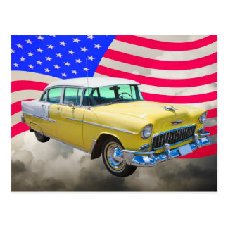 1955 Chevrolet Bel Air With American Flag Postcard