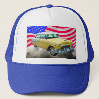 1955 Chevrolet Bel Air With American Flag Trucker Hat