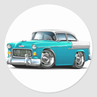 1955 Chevy Belair Turquoise-White Car Classic Round Sticker