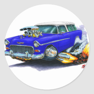 1955 Chevy Nomad Blue Car Classic Round Sticker