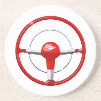 1955 Chevy Red Steering Wheel Coasters
