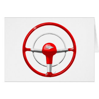 1955 Chevy Red Steering Wheel Greeting Card
