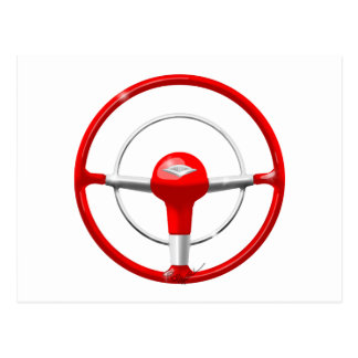 1955 Chevy Red Steering Wheel Postcard
