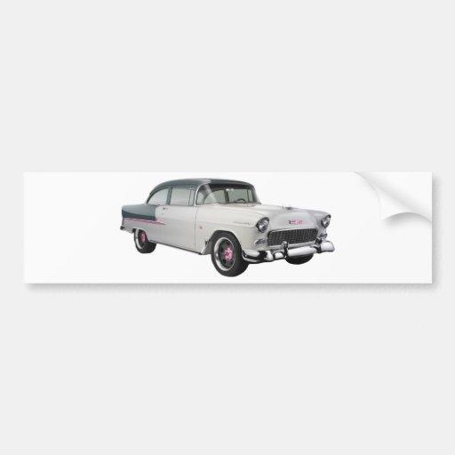 1955 chevy with pink trim bumper sticker