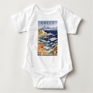 1955 Greece Athens Bay of Castella Travel Poster Baby Bodysuit