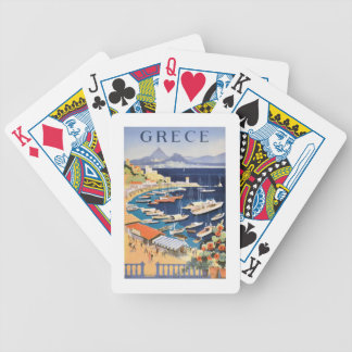 1955 Greece Athens Bay of Castella Travel Poster Bicycle Playing Cards