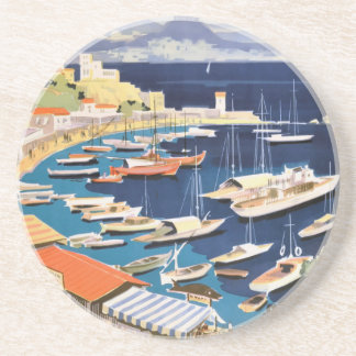 1955 Greece Athens Bay of Castella Travel Poster Coaster