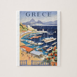 1955 Greece Athens Bay of Castella Travel Poster Jigsaw Puzzle