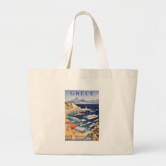 1955 Greece Athens Bay of Castella Travel Poster Large Tote Bag