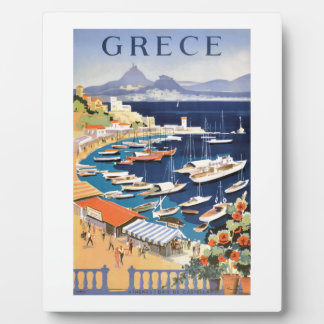 1955 Greece Athens Bay of Castella Travel Poster Plaque
