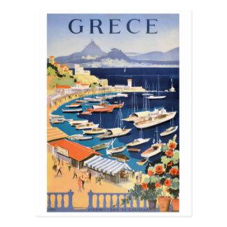 1955 Greece Athens Bay of Castella Travel Poster Postcard