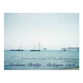 1956 Building of the Mackinac Bridge Michigan Postcard
