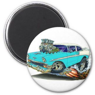1956 Chevy Belair Turquoise Car 6 Cm Round Magnet
