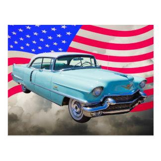 1956 Sedan Deville Cadillac And American Flag Postcard