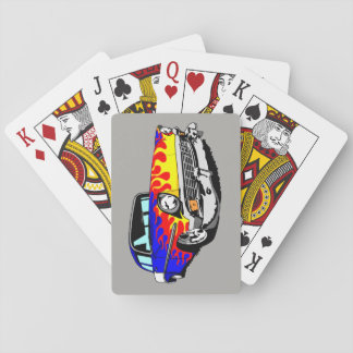 1956 Shoebox Playing Cards  in Blue with Flames