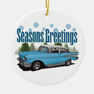1957 Bel Air Season's Greetings Round Ceramic Decoration