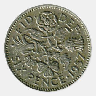 1957 British sixpence sticker