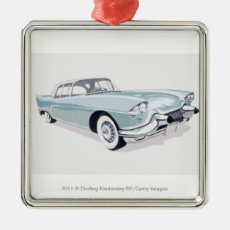 1957 Cadillac with silhouette of driver inside Metal Ornament