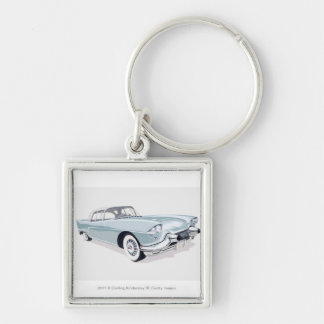 1957 Cadillac with silhouette of driver inside Silver-Colored Square Key Ring