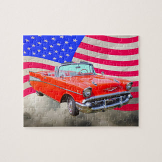 1957 Chevrolet Bel Air And US Flag Jigsaw Puzzle