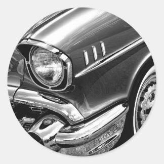 1957 Chevrolet Bel Air Black & White Classic Round Sticker