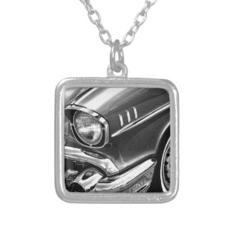 1957 Chevrolet Bel Air Black & White Silver Plated Necklace