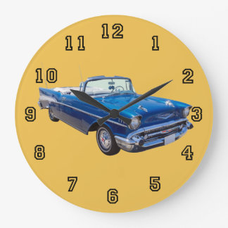 1957 Chevrolet Bel Air Convertible Classic Car Large Clock
