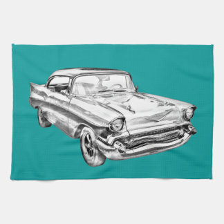 1957 Chevy Bel Air Illustration Tea Towel