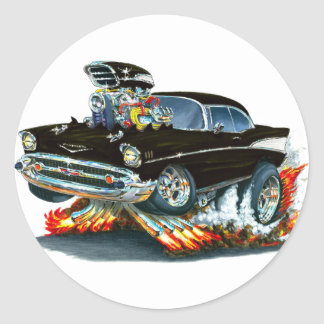 1957 Chevy Belair Black Car Classic Round Sticker