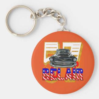 1957 Chevy Belair Keychain. Basic Round Button Key Ring