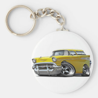1957 Chevy Nomad Yellow Hot Rod Key Ring