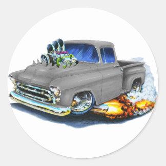 1957 Chevy Pickup Grey Classic Round Sticker