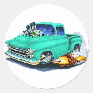 1957 Chevy Pickup Seafoam Green Classic Round Sticker