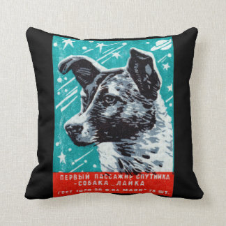 1957 Laika the Space Dog Throw Pillow