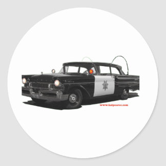 1957-mercury-monterey-highway-patrol-car classic round sticker