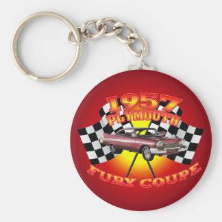 1957 Plymouth Fury Key Chain. Basic Round Button Key Ring