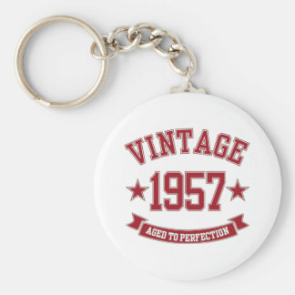 1957 Vintage Aged to Perfection Basic Round Button Key Ring