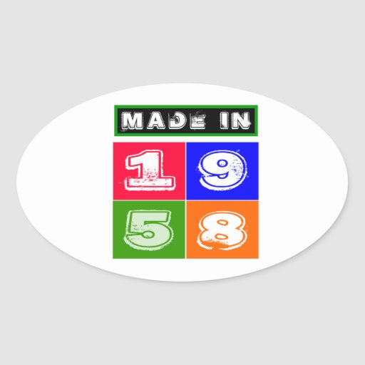 1958 Birthday Designs Oval Sticker