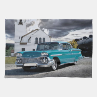 1958 Chevy Bel Air Belair Chevrolet Classic Car Tea Towel