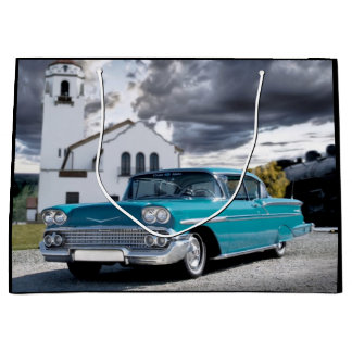 1958 Chevy Bel Air Classic Car Train Depot Large Gift Bag