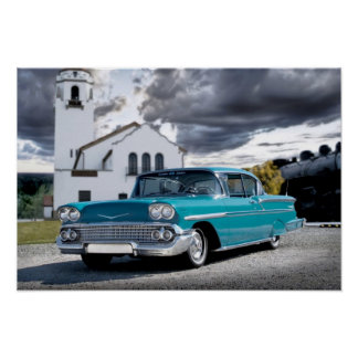 1958 Chevy Bel Air Classic Car Train Depot Poster