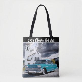 1958 Chevy Bel Air Classic Car Train Depot Tote Bag