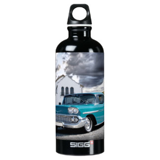 1958 Chevy Bel Air Classic Car Train Depot Water Bottle