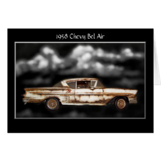 1958 Chevy Bel Air,junkyard car,classic car,rusty Card
