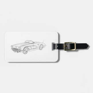 1958 Chevy Corvette Pencil Style Illustration Luggage Tag